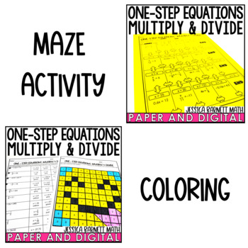 One-Step Equations Multiply and Divide Activity Pack