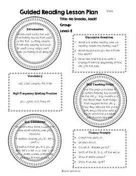 No Snacks, Jack! by Janet Reed Guided Reading Lesson Plan Level E