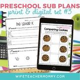 Pre-K Sub Plans (Preschool Emergency Substitute Plans) Set #3