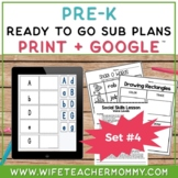 Pre-K Sub Plans (Preschool Emergency Substitute Plans) Set #4