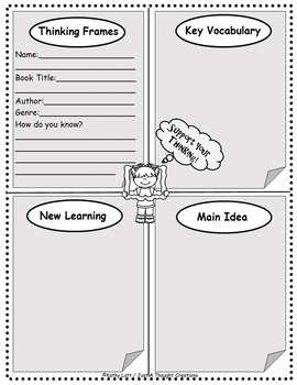 Reading Response - Metacognition - Comprehension - Thinking Frames