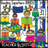 Reading Super Hero Kids with Books Clipart BUNDLE