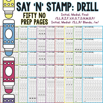 Say 'n' Stamp: Drill! NO PREP Drill Articulation Pages (Worksheets, Homework)