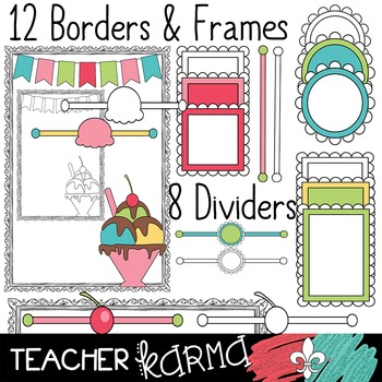 Seller's Kit: Ice Cream  Shoppe * Papers * Buntings * Frames * Borders