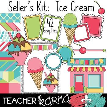 Seller's Kit: Ice Cream  Shoppe * Papers * Buntings * Fram
