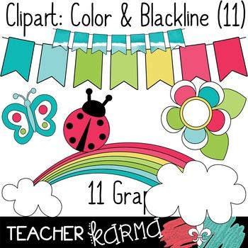 Seller's Kit: Rainbow Clipart * Papers * Buntings * Frames * Borders