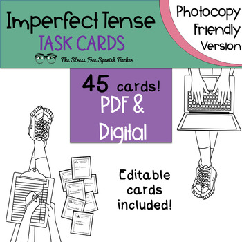 Spanish Imperfect Tense Task Cards! 45 Cards! INK FRIENDLY