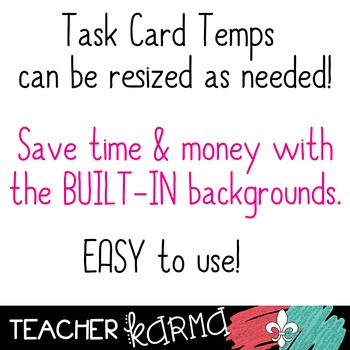 Task Card Templates with BUILT-IN Backgrounds