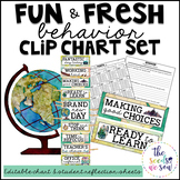 Travel Classroom Decor: Behavior Clip Chart and Reflection Sheets