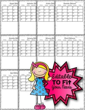 Editable Monthly Behavior Calendars for Life