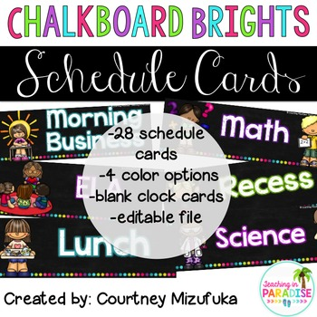 Chalkboard Brights Schedule Cards