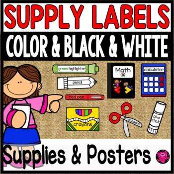 Illustrated Supply LabelPicture Cards Color Black and White