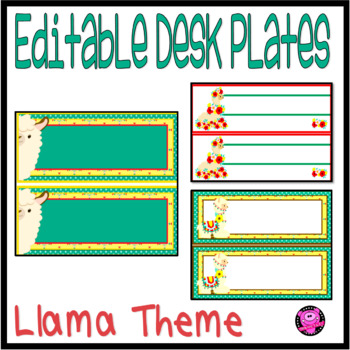 Editable Desk Plates and Labels LLAMA Theme