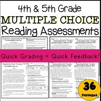 50% OFF first 48 hours! Multiple Choice 4th & 5th Grade Reading Assessments