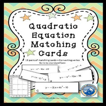 Quadratic Equation Forms Matching Card Set