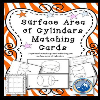 Surface Area of Cylinders Matching Card Set