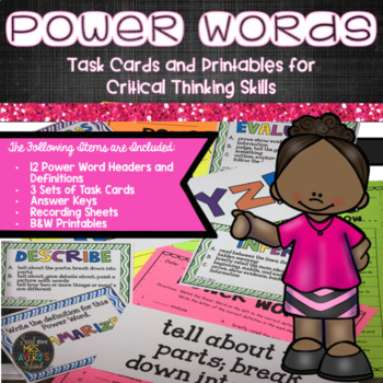 Critical Thinking Cards Vocabulary for Test Prep
