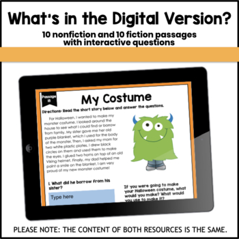 Fiction and Nonfiction Short Passages (Fall Themed)