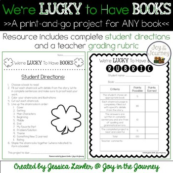 March St  Patrick's Day Book Project for ANY Book