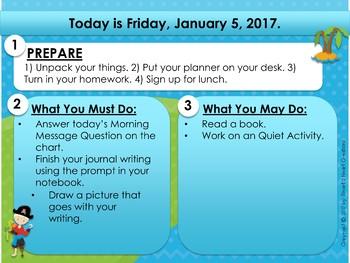 EDITABLE Pirate Morning Work & Homework Slides