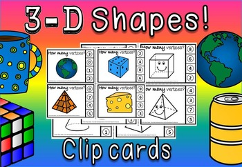 3d shapes clip cards and posters