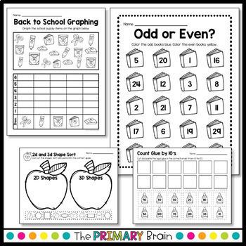 Back to School Math NO PREP Worksheet Pack