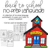 Back to School No Prep Language Activities