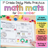 December Math Review Worksheets for First Grade
