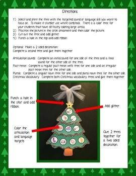 No Prep Articulation and Language Christmas Tree Craft