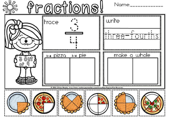 fractions of a whole pizza or pie.