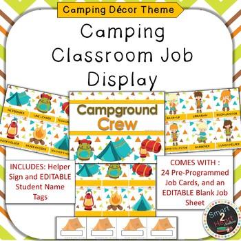Camping Theme Classroom Job Helper Display