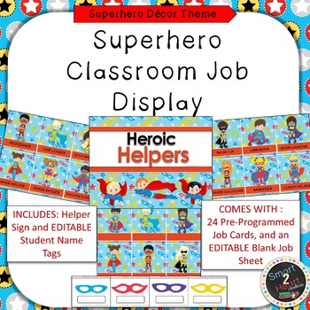 Superhero Theme Classroom Job Helper Display
