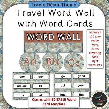 Travel Themed Word Wall and Word Cards Set