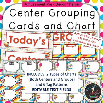 Amusement Park Theme Center Grouping Cards and Chart