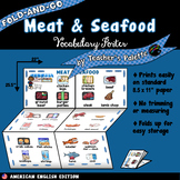 ESL/ELL Foods Vocabulary Poster—Meat & Seafood