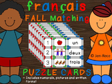 Fall French: 1-20 Matching Number Word Cards/Puzzles