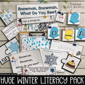 Winter Emergent Reader: Snowman, Snowman, What Do You See? + Pocket Chart Cards