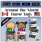 Around The World Name Tags and Desk Plates {EDITABLE}