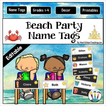Beach Party Fun Name Tags and Desk Plates {EDITABLE}