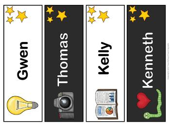 Book Worm Name Tags and Desk Plates {EDITABLE}