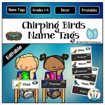 Little Birdies Name Tags and Desk Plates {EDITABLE}