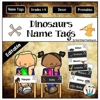 Roaring Dinosaurs Name Desk Plates {EDITABLE}