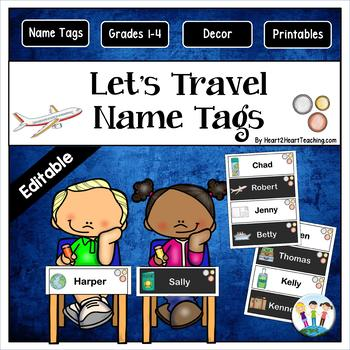 Let's Travel Name Tags and Desk Plates {EDITABLE}
