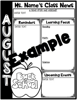 Newsletters, Homework Covers and Calendars