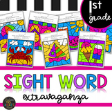 First Grade Summer Themed Sight Word Color by Code End of the Year Activities