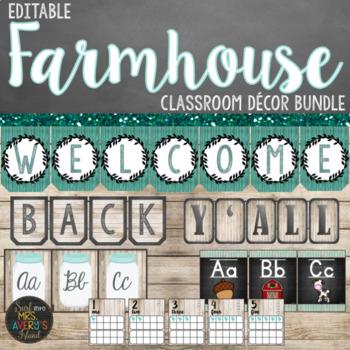 Farmhouse Classroom Decor Bundle - Editable