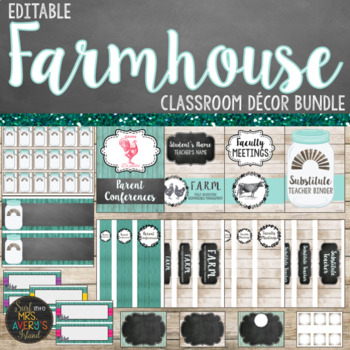 Farmhouse Classroom Decor Bundle - Editable⭐❤️