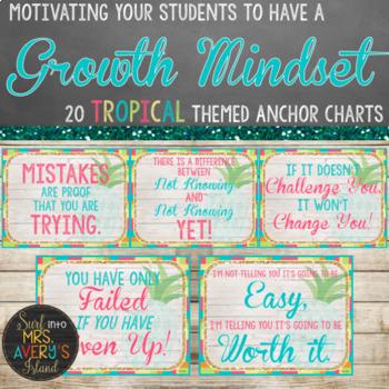 Growth Mindset Posters - Beach Theme - Editable