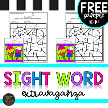 FREEBIE K-5 Summer Themed Sight Word Color by Code Activities