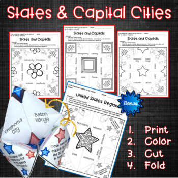 States and Capitals Cootie Catchers
